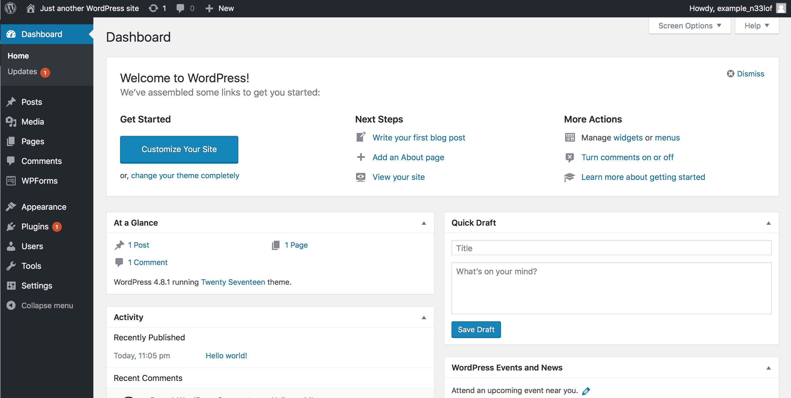 Wordpress Dashboard when you build a website